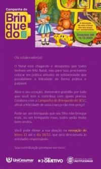 UniCesumar e Sesc arrecadam brinquedos para crianças vulneráveis