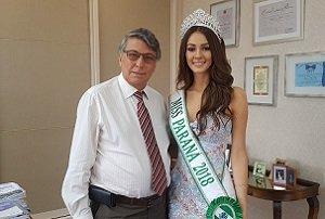 Reitor da Unicesumar recebe vencedora do Miss Paraná 2018