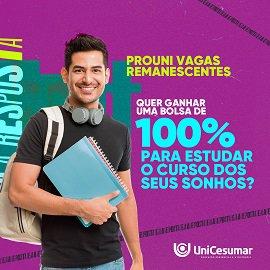 Vagas remanescentes: UniCesumar oferece últimas bolsas 100% do Prouni até amanhã (4)